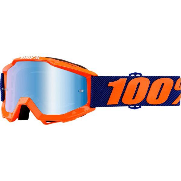 100% ACCURI JR ORIGAMI OFFROAD GOGGLE W/ MIRROR BLUE LENS