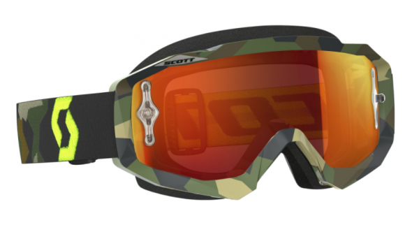 Goggle Hustle MX works grey/fluo yellow mit orange chrome