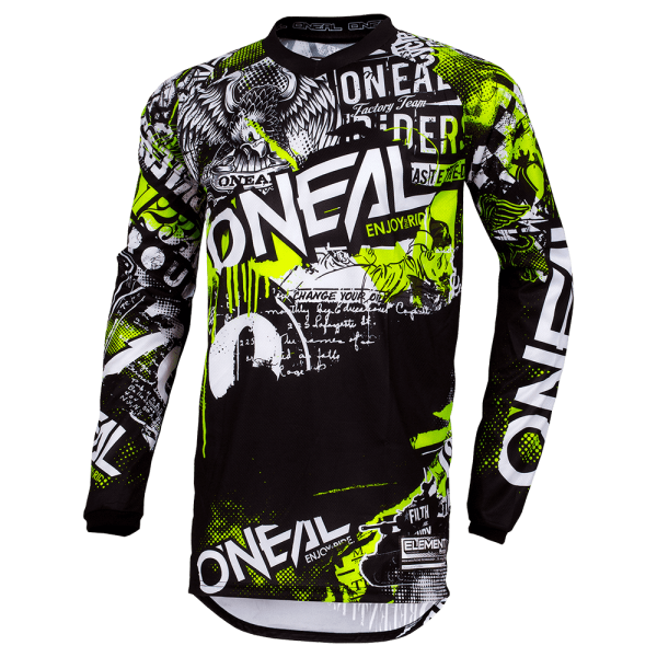 O'NEAL ELEMENT YOUTH JERSEY ATTACK BLACK/NEON YELLOW
