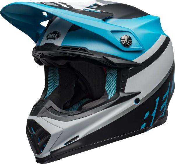 BELL Moto-9 Mips Helm Prophecy Matte White/Black/Blue 2020