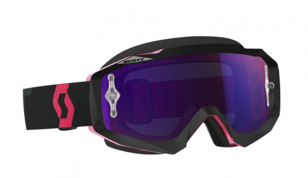 Goggle Hustle MX works black/fluo pink purple chrome Glas