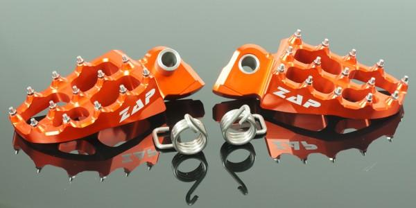ZAP E-Peg Fußrasten Yamaha, Gas Gas, KTM, HSQ orange. Nicht für KTM SX 2016, EXC 2017 und HuskyTC/FC