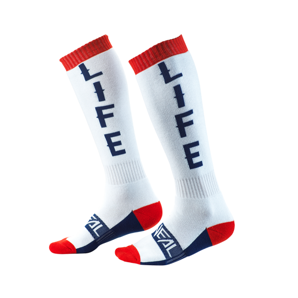 PRO MX SOCK MOTO LIFE WHITE/RED/BLUE 2020