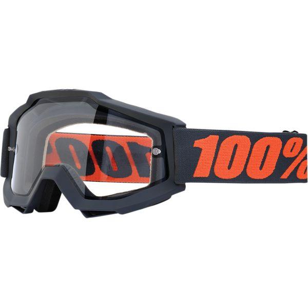 100% ACCURI GUNMETAL ENDURO GOGGLE W/ CLEAR LENS