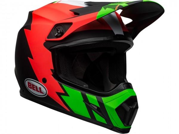 BELL MX-9 Mips Helm Strike Matte InfraRed /Green/Black 2020
