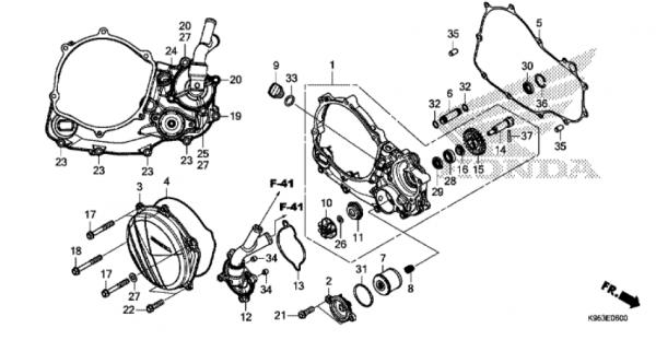 E-6 Kurbelgehäuseabdeckung / Wasserpumpe