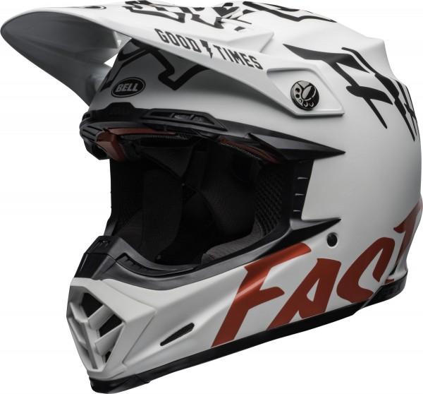 Bell Moto-9 Flex FastHouse WRWF Helmet Matte Gloss White/Red 2020