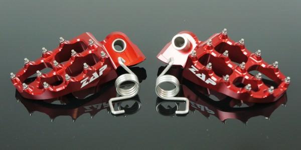 ZAP E-Peg Fußrasten Yamaha, Gas Gas, KTM, HSQ rot. Nicht für KTM SX 2016, EXC 2017 und HuskyTC/FC 2